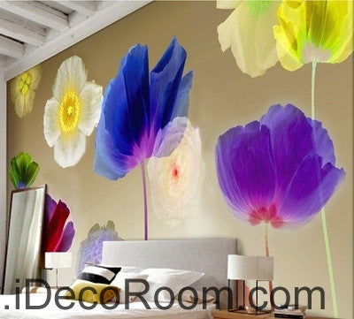 Image of A beautiful dream colorful multicolored blooming poppy flowers transparent wall art wall decor mural wallpaper wall  IDCWP-000237