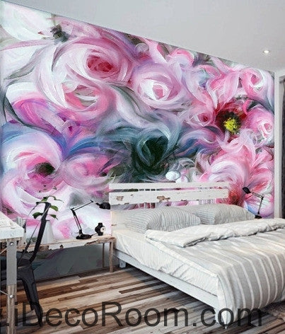 Image of Beautiful dream freshly blooming abstract pink roses oil painting effect wall art wall decor mural wallpaper wall  IDCWP-000238