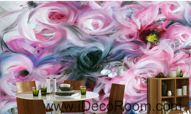 Beautiful dream freshly blooming abstract pink roses oil painting effect wall art wall decor mural wallpaper wall  IDCWP-000238