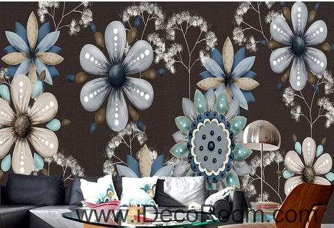 Image of Retro Black Background Flower Small Round Flower oil painting effect wall art wall decor mural wallpaper wall  IDCWP-000239