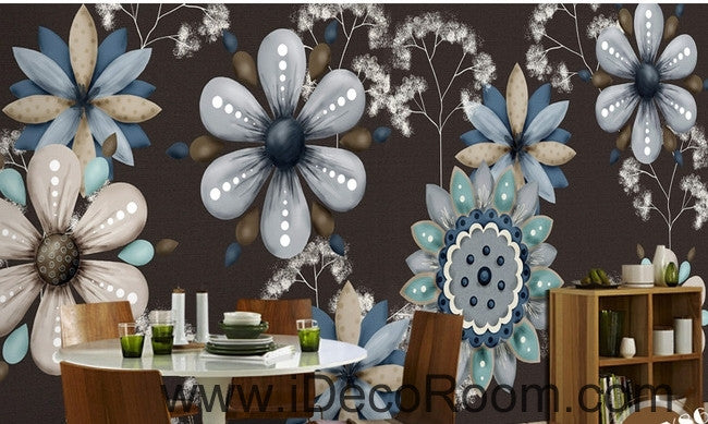 Retro Black Background Flower Small Round Flower oil painting effect wall art wall decor mural wallpaper wall  IDCWP-000239