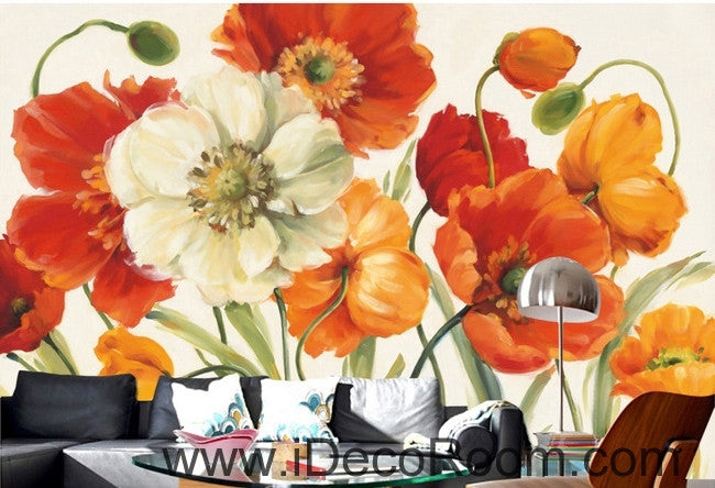 A beautiful dream of fresh and colorful blooming poppy flower painting wall art wall decor mural wallpaper wall  IDCWP-000241