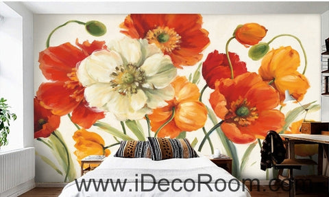 Image of A beautiful dream of fresh and colorful blooming poppy flower painting wall art wall decor mural wallpaper wall  IDCWP-000241