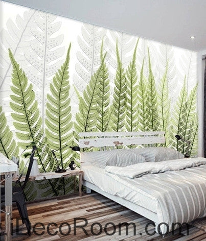 Image of Beautiful dream fresh green ferns transparent leaf wall art wall decor mural wallpaper wall  IDCWP-000243