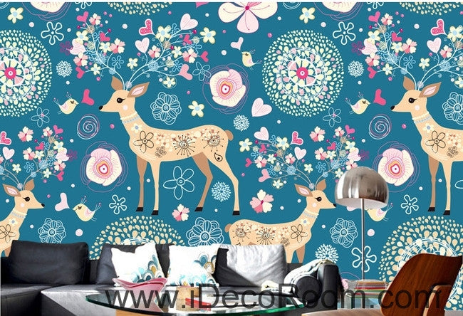 Cute cartoon blue background multicolored red horse deer heart animal oil painting effect wall art wall decor mural wallpaper wall  IDCWP-000244