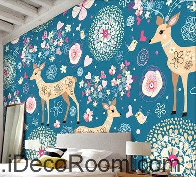Image of Cute cartoon blue background multicolored red horse deer heart animal oil painting effect wall art wall decor mural wallpaper wall  IDCWP-000244