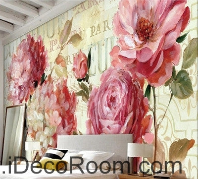 Image of Beautiful dream romantic pink in full bloom peony rose wall art wall decor mural wallpaper wall  IDCWP-000245