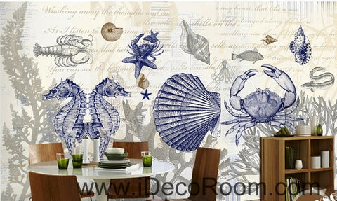 Image of Fantastic fresh blue sea hippocampus crab coral wall art wall decor mural wallpaper wall paper IDCWP-000247