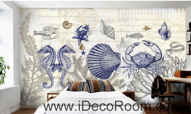 Fantastic fresh blue sea hippocampus crab coral wall art wall decor mural wallpaper wall paper IDCWP-000247