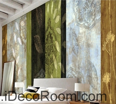 Image of Retro color pattern lines splicing painting wall art wall decor mural wallpaper wall  IDCWP-000248