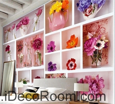 Beautiful fresh white lattice painting splicing flower vase still life wall art wall decor mural wallpaper wall  IDCWP-000249