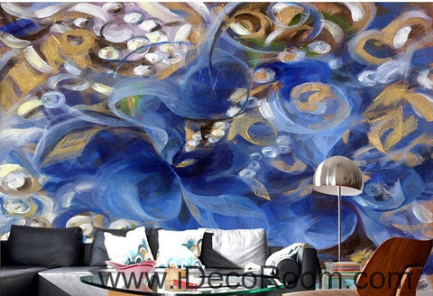 Image of Beautiful dream romantic blue fresh abstract lines oil painting effect wall art wall decor mural wallpaper wall  IDCWP-000251