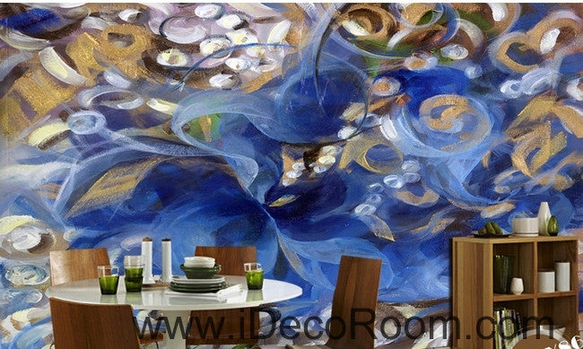 Beautiful dream romantic blue fresh abstract lines oil painting effect wall art wall decor mural wallpaper wall  IDCWP-000251