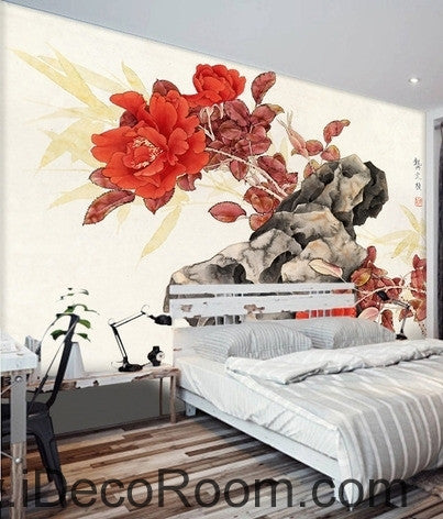 Retro Rockery Sunset Rose Chinese Painting oil painting effect Wall wall art wall decor mural wallpaper wall  IDCWP-000253