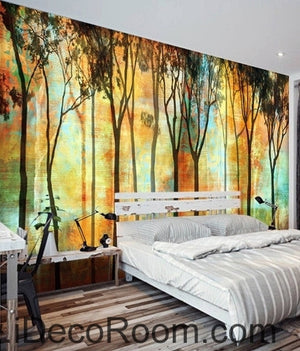 Beautiful romantic abstract golden tree forest tree oil painting effect wall art wall decor mural wallpaper wall  IDCWP-000256