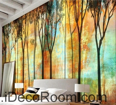 Beautiful romantic abstract golden tree forest tree oil painting ...