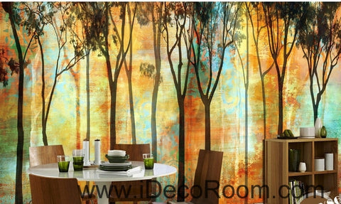 Image of Beautiful romantic abstract golden tree forest tree oil painting effect wall art wall decor mural wallpaper wall  IDCWP-000256