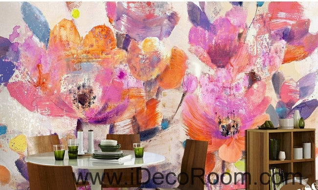 Beautiful dream pink abstract blooming flowers poppy flower painting wall art wall decor mural wallpaper wall  IDCWP-000257
