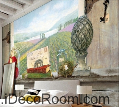 European style retro pastoral scenery ranch flower sea windowsill book painting wall art wall decor mural wallpaper wall  IDCWP-000259