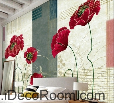 Image of Small fresh striped pattern blooming Hongyan poppy flower painting wall art wall decor mural wallpaper wall  IDCWP-000261