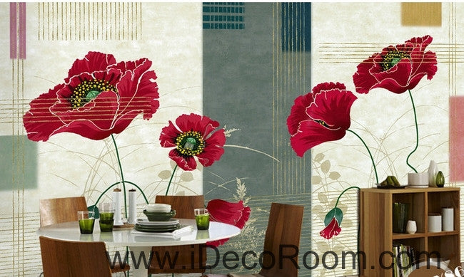 Small fresh striped pattern blooming Hongyan poppy flower painting wall art wall decor mural wallpaper wall  IDCWP-000261