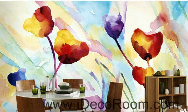 Beautiful fantasy fresh abstract multicolored flowers blooming poppy flower wall art wall decor mural wallpaper wall  IDCWP-000262