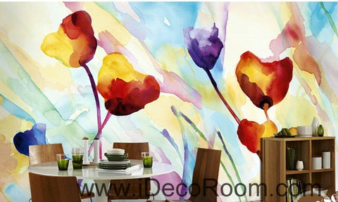 Image of Beautiful fantasy fresh abstract multicolored flowers blooming poppy flower wall art wall decor mural wallpaper wall  IDCWP-000262