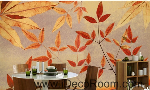 A beautiful retro to do old old maple leaves leaf branches wall art wall decor mural wallpaper wall paper IDCWP-000265