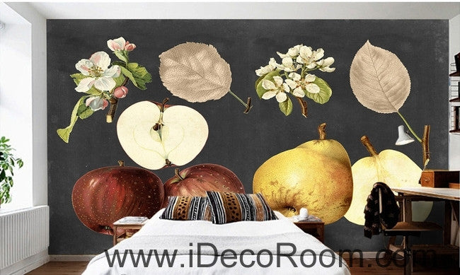 Retro Black Fruit Apple Pear Apple Flower Pear Flower oil painting effect wall art wall decor mural wallpaper wall  IDCWP-000267