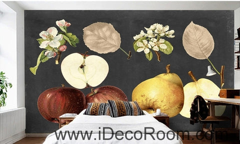 Image of Retro Black Fruit Apple Pear Apple Flower Pear Flower oil painting effect wall art wall decor mural wallpaper wall  IDCWP-000267
