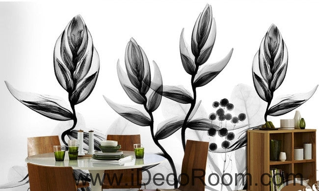 Beautiful dream black and white art transparent charming leaves dance wall art wall decor mural wallpaper wall  IDCWP-000268
