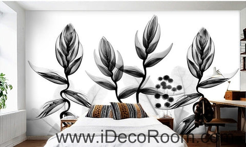 Image of Beautiful dream black and white art transparent charming leaves dance wall art wall decor mural wallpaper wall  IDCWP-000268