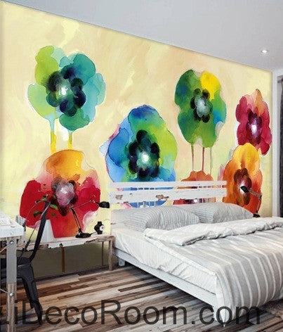 Beautiful fantasy fresh abstract multicolored flowers poppy flower wall art wall decor mural wallpaper wall  IDCWP-000269