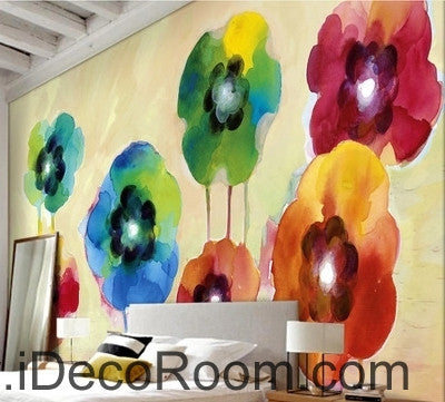 Image of Beautiful fantasy fresh abstract multicolored flowers poppy flower wall art wall decor mural wallpaper wall  IDCWP-000269