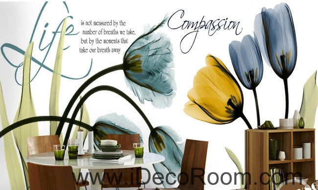 Beautiful dream fresh blue yellow tulip transparent flower wall art wall decor mural wallpaper wall  IDCWP-000270