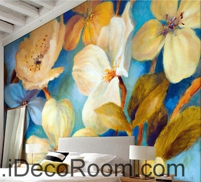 Image of Beautiful dream fresh blue light yellow blooming flowers poppy flower wall art wall decor mural wallpaper wall  IDCWP-000271