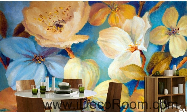 Beautiful dream fresh blue light yellow blooming flowers poppy flower wall art wall decor mural wallpaper wall  IDCWP-000271