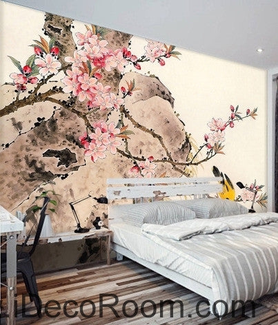 Image of Retro pink cherry blossom on the branches of the oriole magpie oil painting effect wall art wall decor mural wallpaper wall  IDCWP-000273