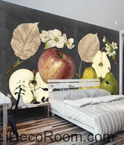 Retro Black Fruit Apple Pear Apple Flower Pear Flower oil painting effect wall art wall decor mural wallpaper wall  IDCWP-000276