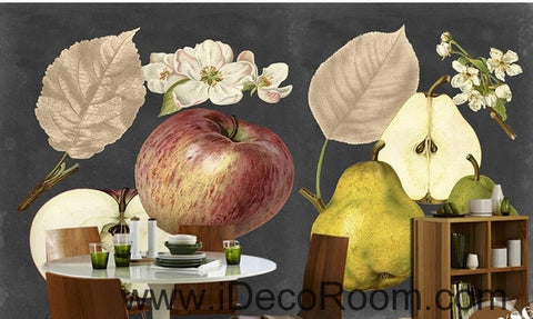 Image of Retro Black Fruit Apple Pear Apple Flower Pear Flower oil painting effect wall art wall decor mural wallpaper wall  IDCWP-000276