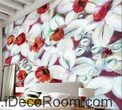 A beautiful dream freshly blooming white abstract lanterns flower painting wall art wall decor mural wallpaper wall  IDCWP-000277