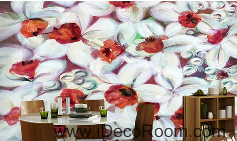 Image of A beautiful dream freshly blooming white abstract lanterns flower painting wall art wall decor mural wallpaper wall  IDCWP-000277