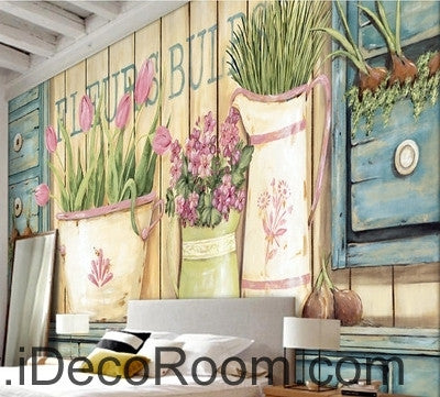 Small fresh pastoral scenery pink tulip vase still life wall art wall decor mural wallpaper wall  IDCWP-000279