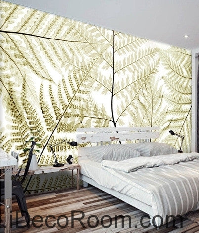 Beautiful dream retro old ferns transparent leaves wall art wall decor mural wallpaper wall  IDCWP-000280