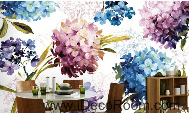 A beautiful dream of fresh and in full bloom color hydrangea oil painting effect wall art wall decor mural wallpaper wall  IDCWP-000281