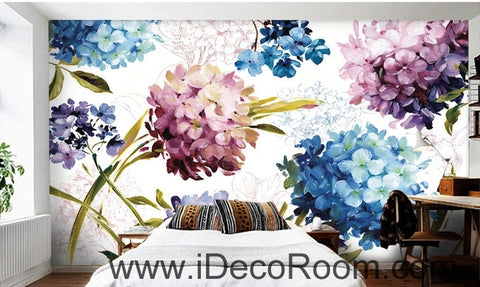 Image of A beautiful dream of fresh and in full bloom color hydrangea oil painting effect wall art wall decor mural wallpaper wall  IDCWP-000281