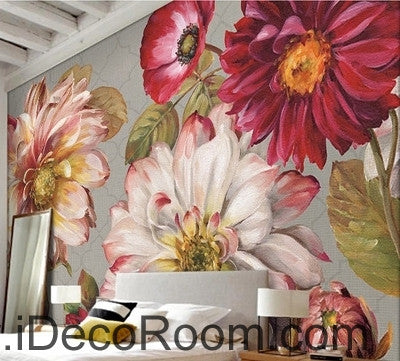 Image of A beautiful dream fresh bloom pink peony rose oil painting effect wall art wall decor mural wallpaper wall  IDCWP-000282