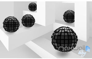 3D Modern Abstract Black Sphere 5D Wall Paper Mural Art Print Decals Decor IDCWP-3DB-000001