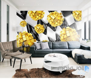 3D Modern Yellow Blocks 5D Wall Paper Mural Art Print Decals Business Decor IDCWP-3DB-000007
