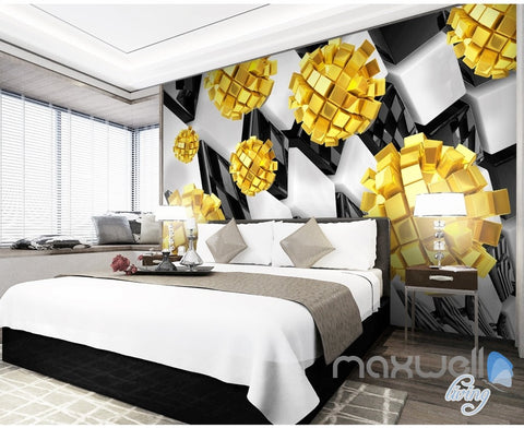 Image of 3D Modern Yellow Blocks 5D Wall Paper Mural Art Print Decals Business Decor IDCWP-3DB-000007